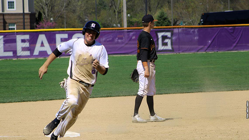 A player on the Goshen baseball team sprints for a base during a game