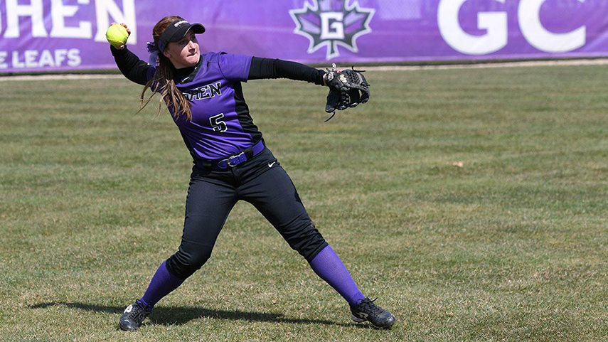 A player on the Goshen softball team pitches during a game