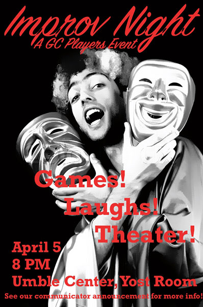 """Poster for GC Players """"Improv Night"""" event"""