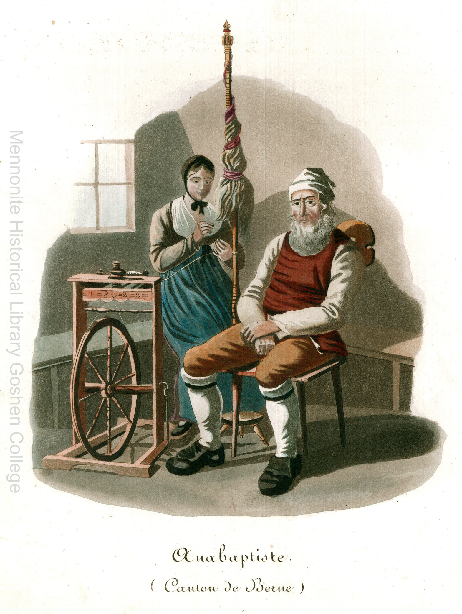 """Illustration from a book featuring two people in """"Anabaptist"""" clothing"""