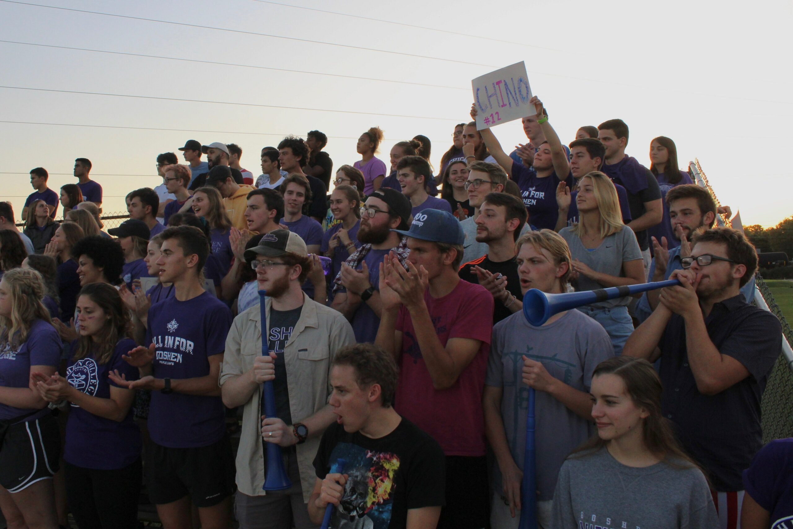 Goshen students crowd the stands to cheer during a game