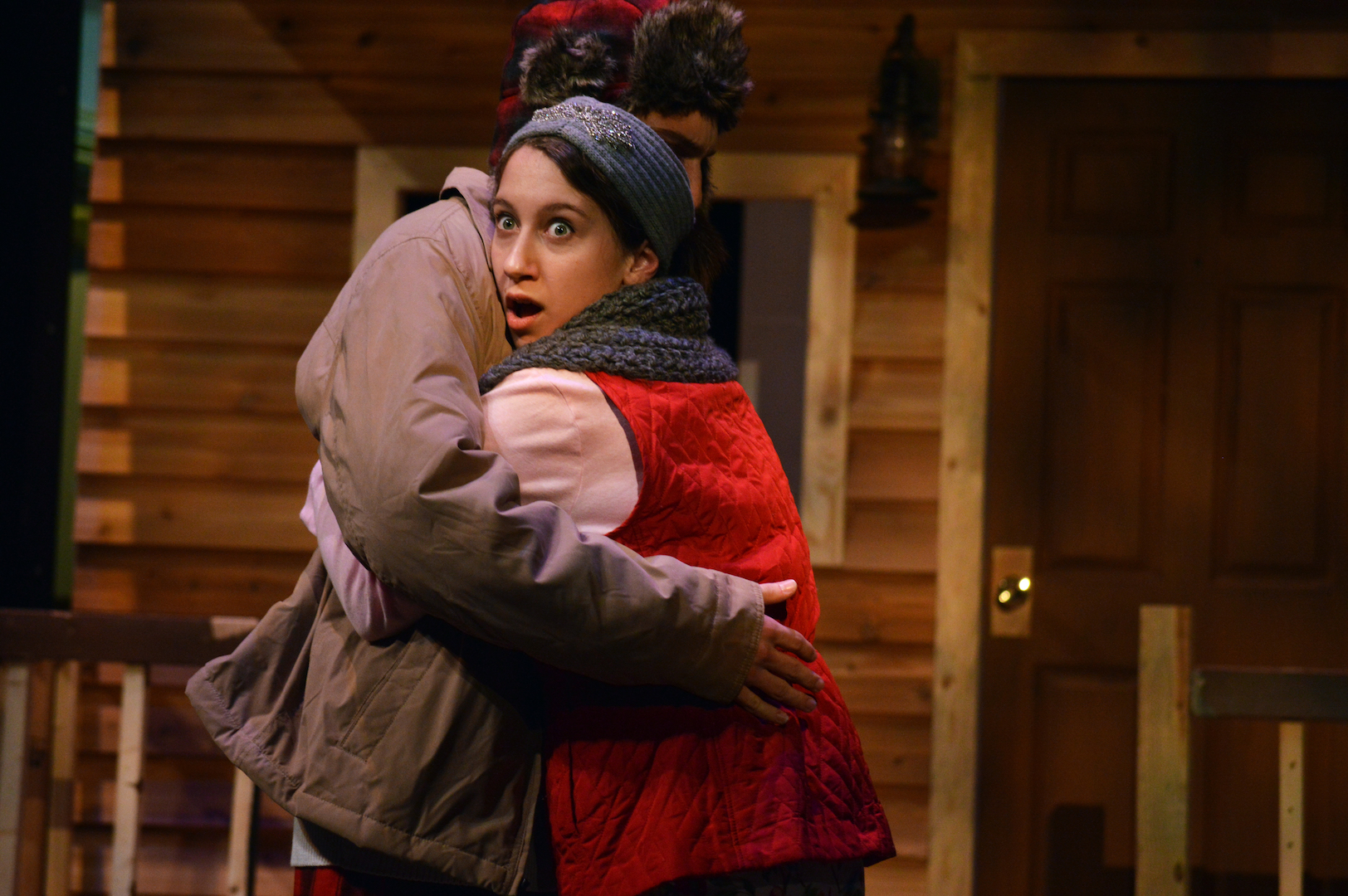 """Willa Beidler and Kyle Snyder embrace in a scene from """"Almost, Maine"""""""