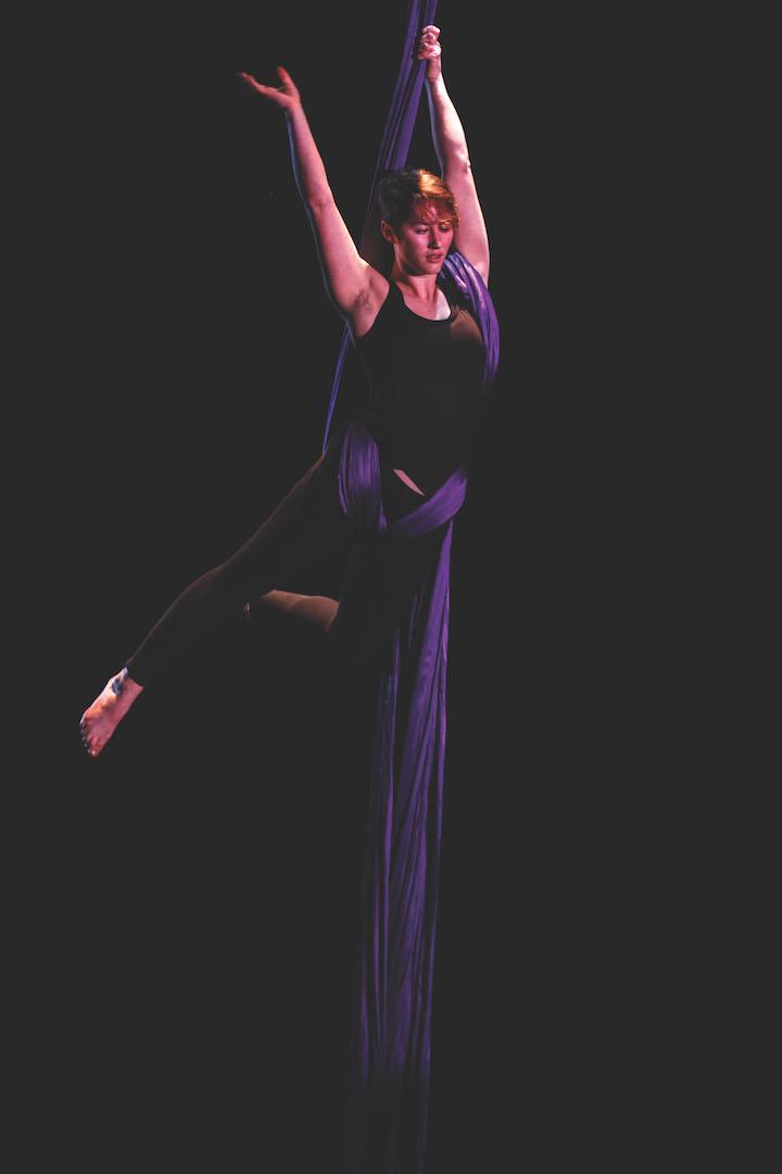 Elena Meyer Reimer performs a silks routine
