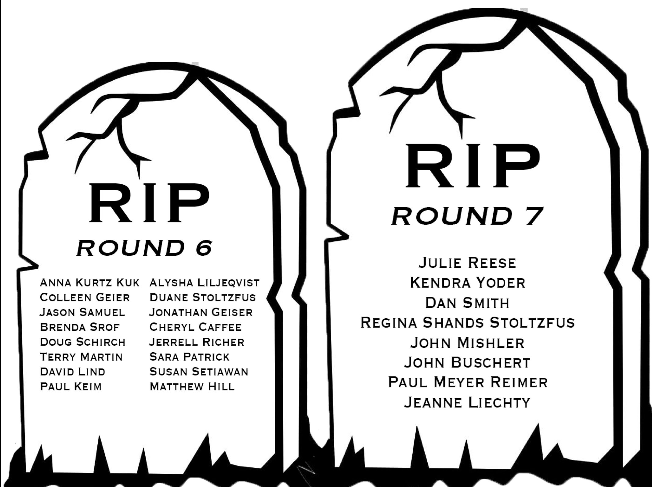 Tombstones featuring the names of the losing professors of the toughest prof bracket