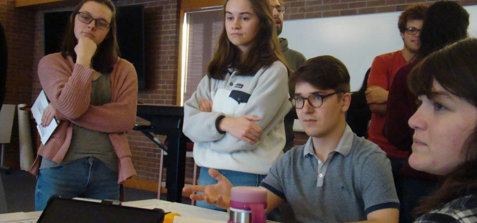 Students participate in mock UN climate negotiation
