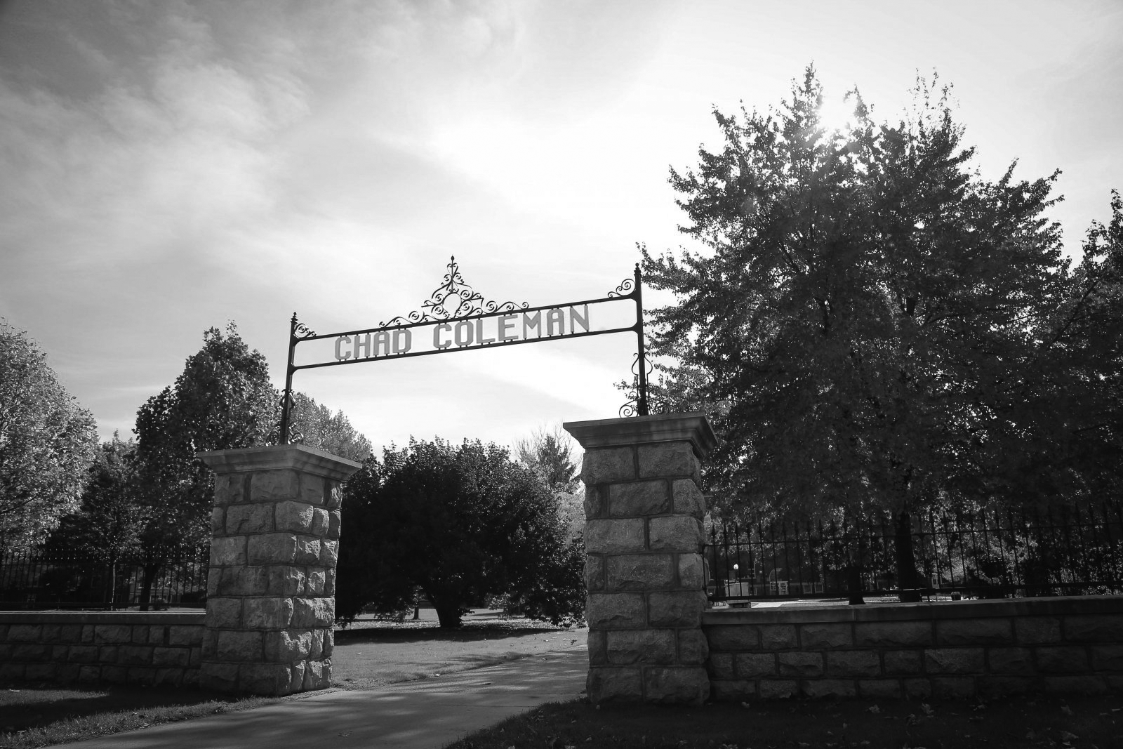 """Photo of the Goshen College gate entryway with the words """"Goshen College"""" replaced with """"Chad Coleman"""""""