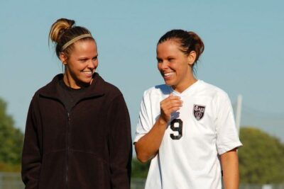 Katies Sowers, Goshen College alumna, at her senior soccer night.