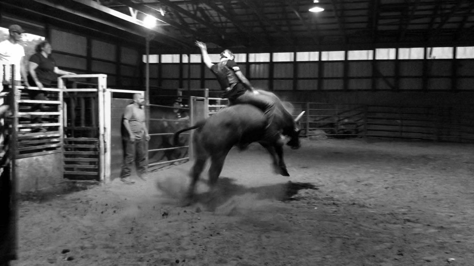 Black and white image of Austin Branagan riding a bull as it bucks off the ground