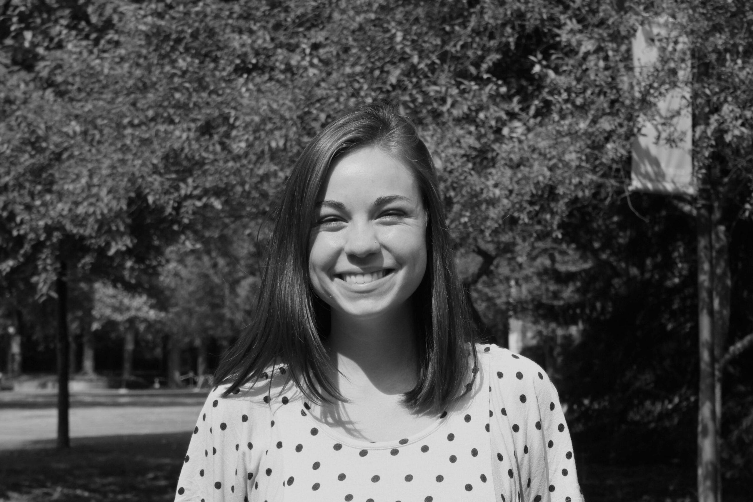Black and white portrait of Mackenzie Miller
