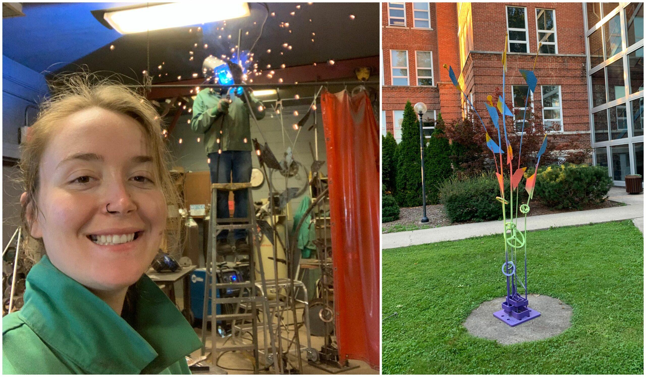 Heather Gabel and sculpture