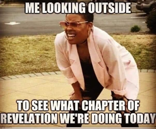 """COVID-19 meme of woman squinting with sunglasses; caption reads """"Me looking outside to see what chapter of revelation we're doing today"""""""