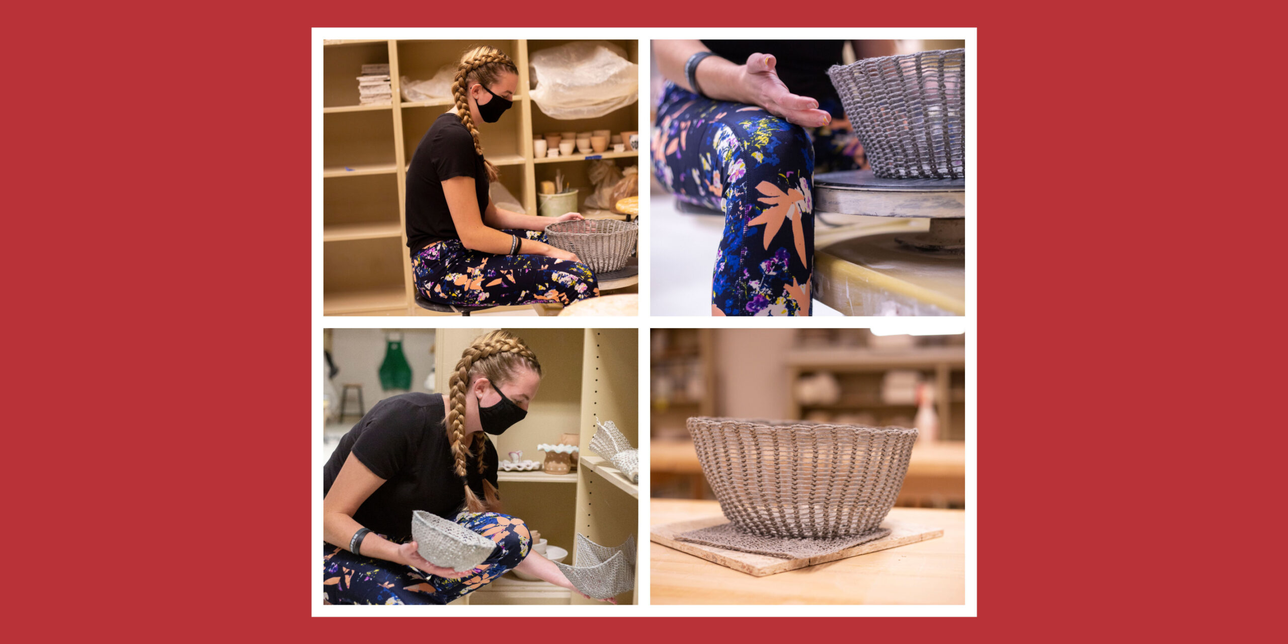 Laura working on pottery