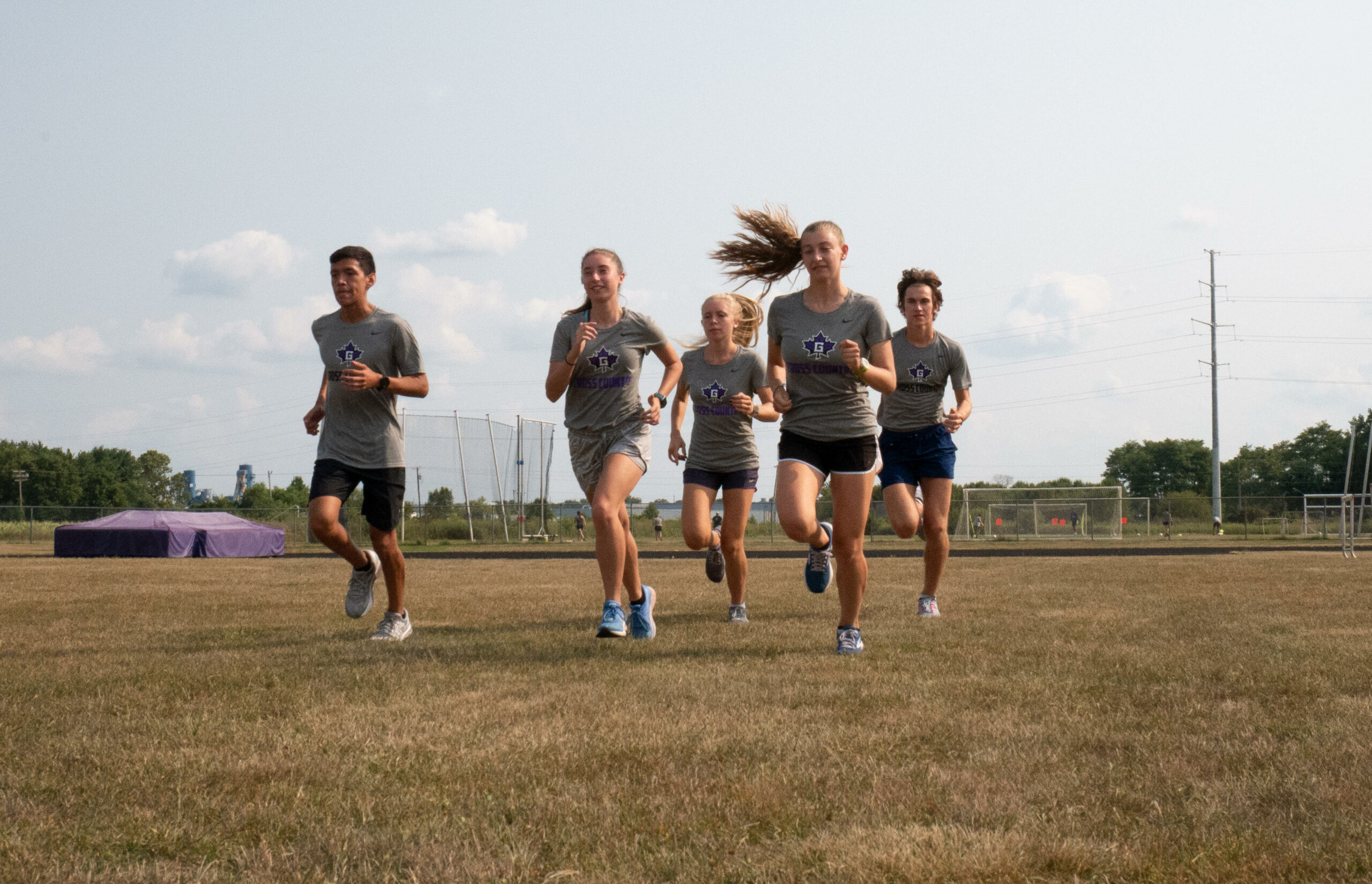 Cross Country team at practice