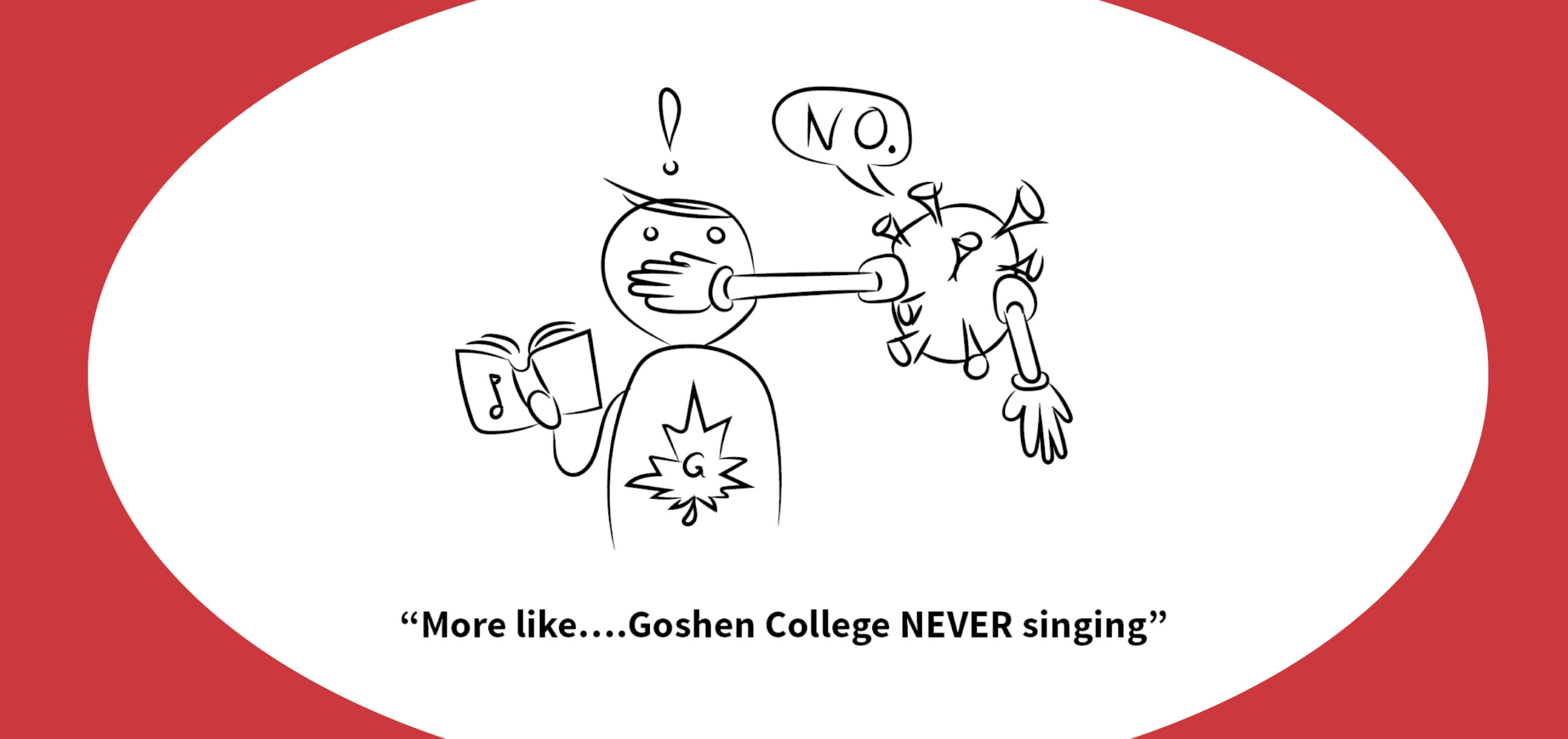 Drawing of a COVID-19 molecule slapping a hand over a singer's mouth