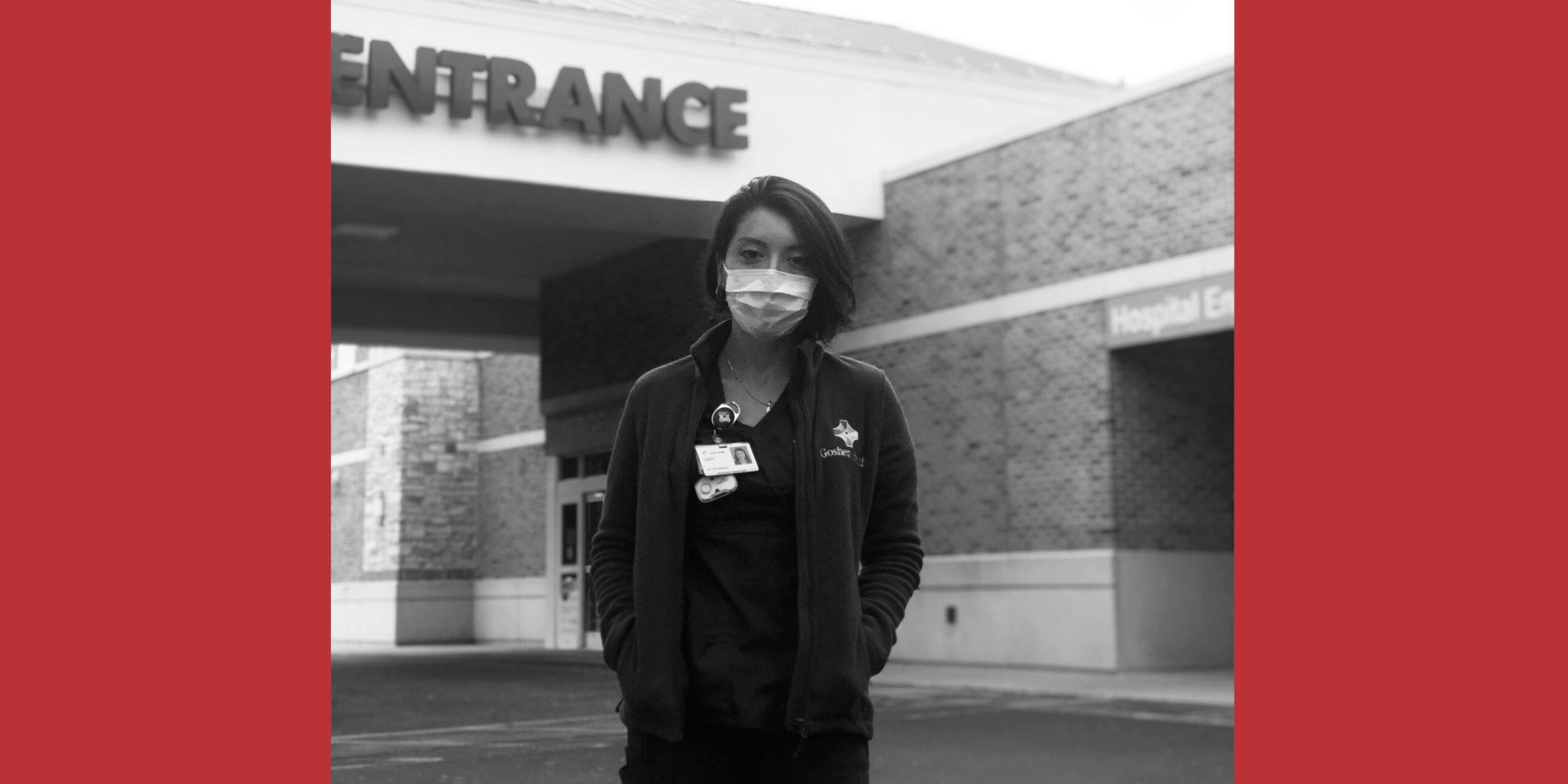 Lizzy Diaz outside a hospital