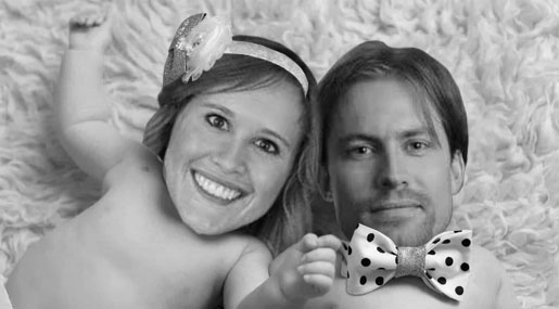 The faces of Robert Brenneman and Brianne Brenneman photoshopped onto a picture of two babies
