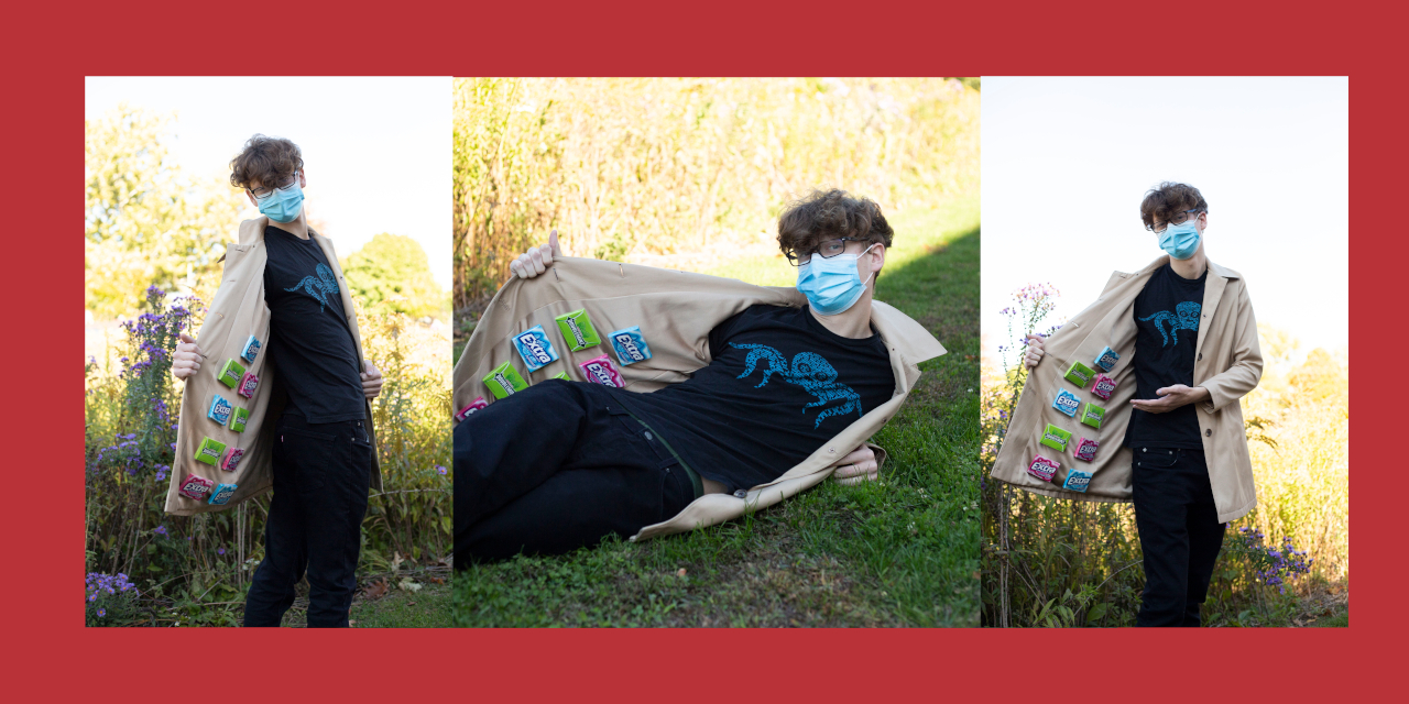 Caleb Gingerich strikes a variety of poses while wearing a trenchoat filled with gum