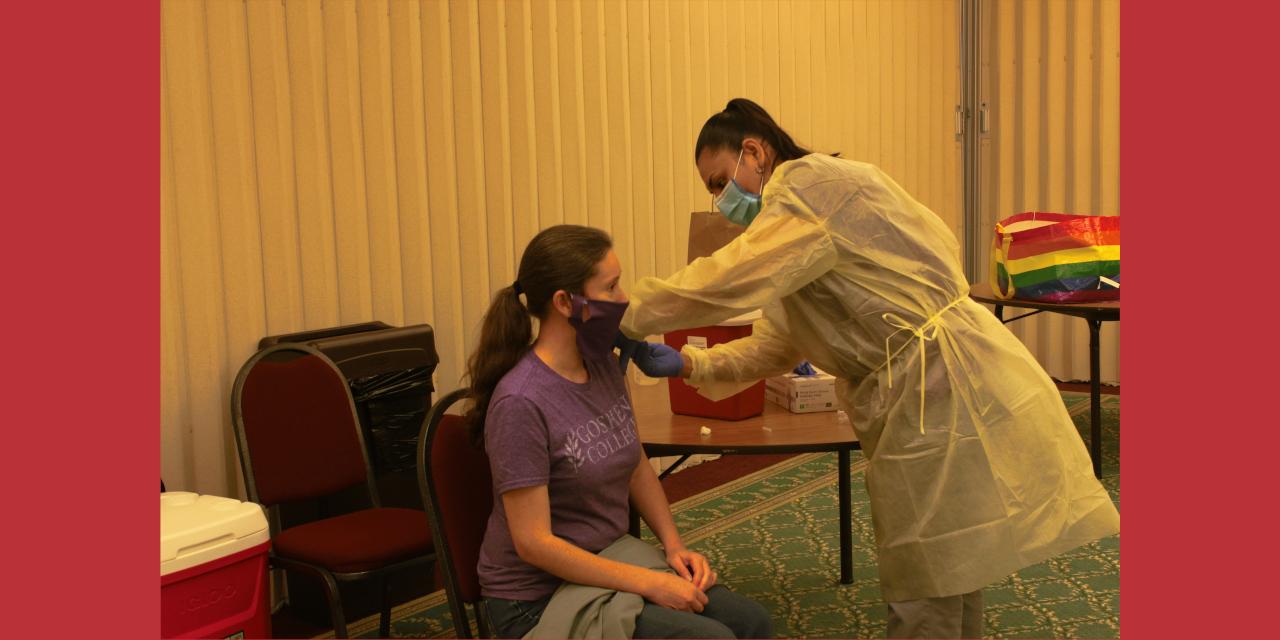 Student gets a flu shot