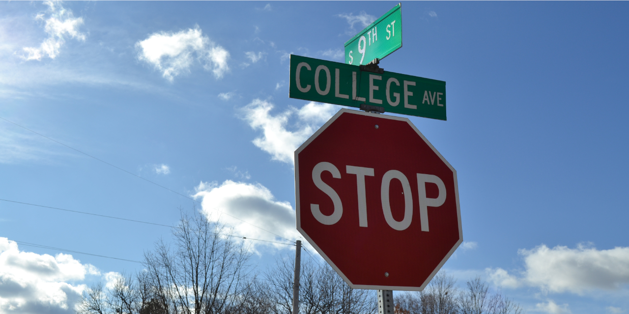 Stop sign at the corner of College Avenue.