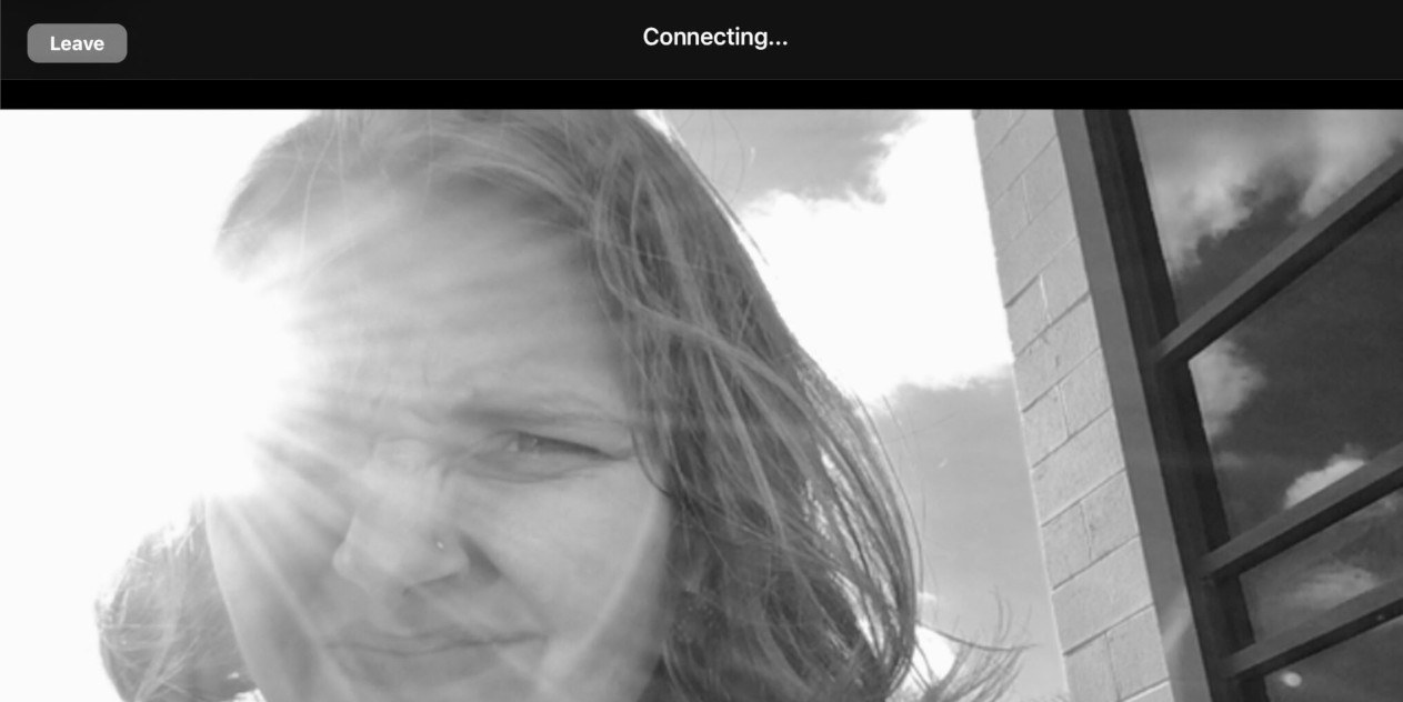 Screenshot of Greta Lapp Klassen attempting to connect to a Zoom call outdoors