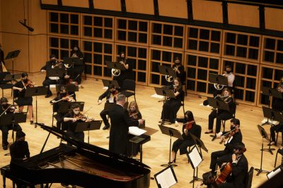 Aerial image of a Goshen College Symphony Orchestra performance