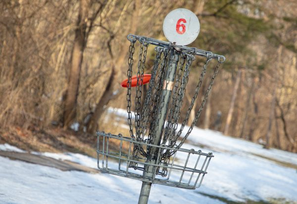 """Image of a metal disc golf basket in Oxbow Park. The basket is labeled with the number """"6"""""""