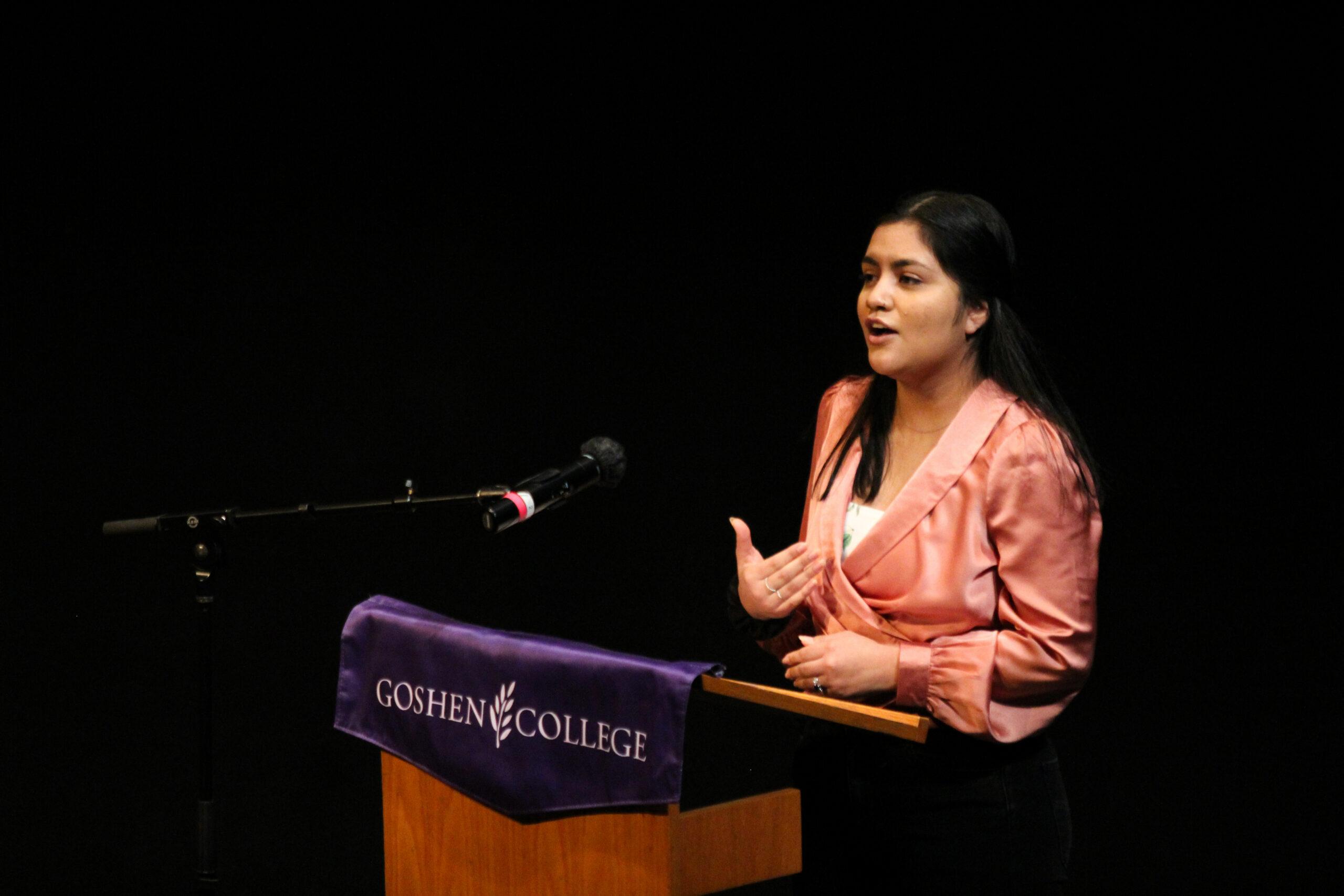 Denisse Aguilar speaking at the oratorical contest