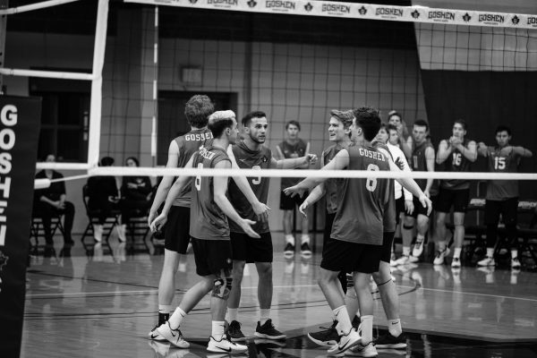 volleyball team celebrates a point