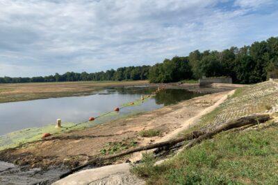 Drained dam pond