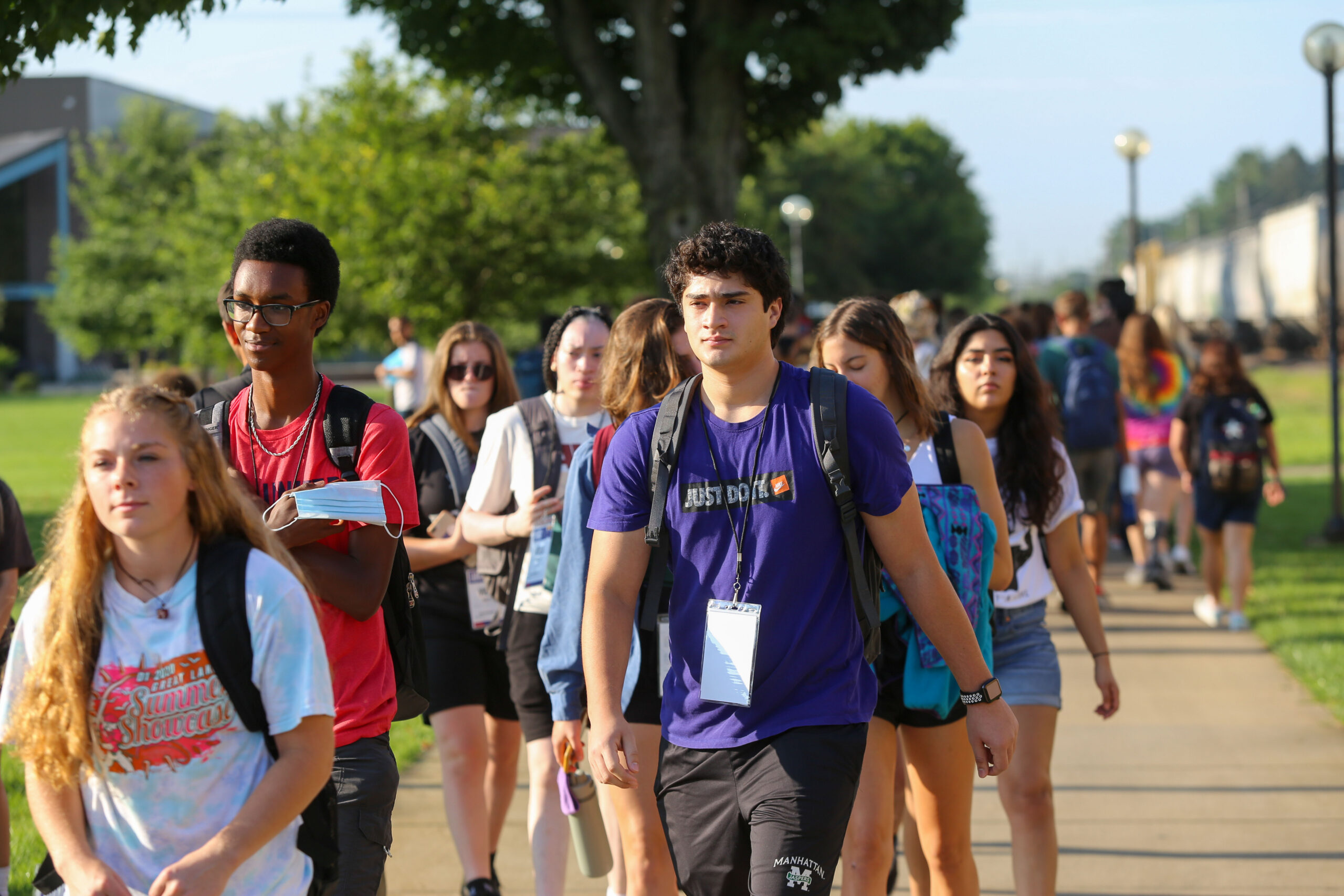 First years walking campus during orientation