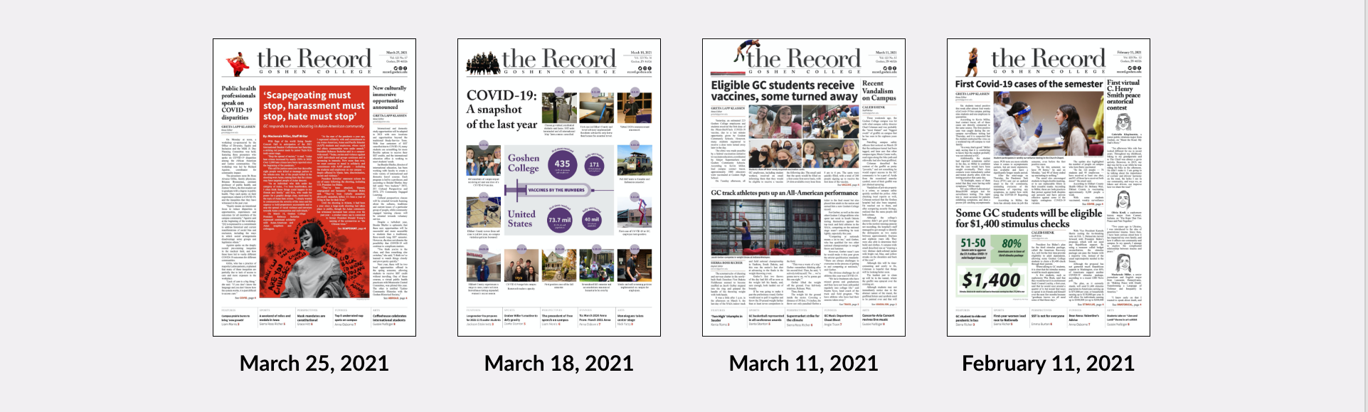 Recent newspaper covers