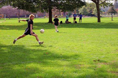Intramural soccer game